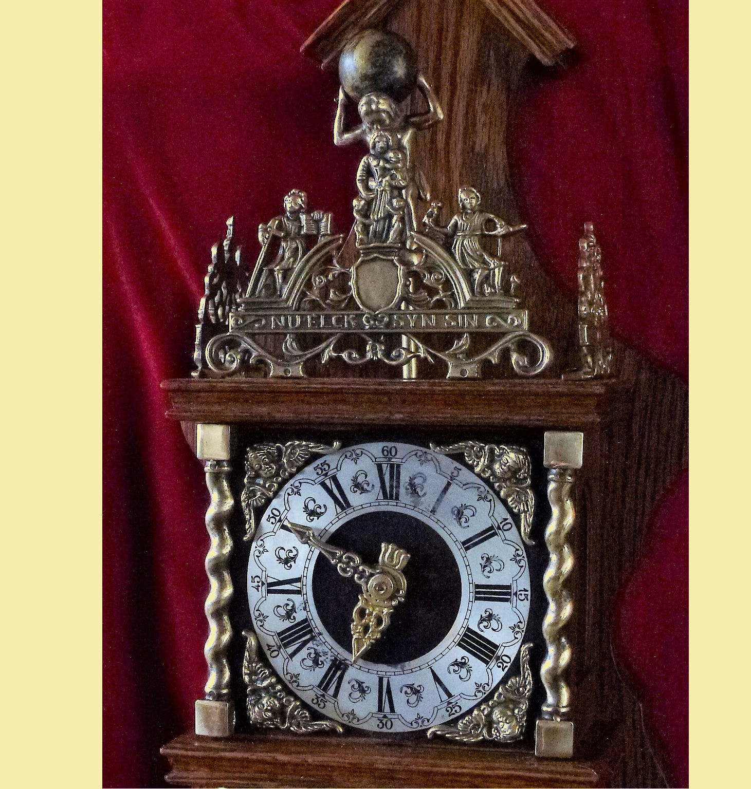 "This, Dutch Zaanse Wall Clock, is well made by ""Warminck"" in Holland with profuse brass castings, ajour cast fillegri, on the lower and upper section of the movement housing, on top is the well known text inscribed